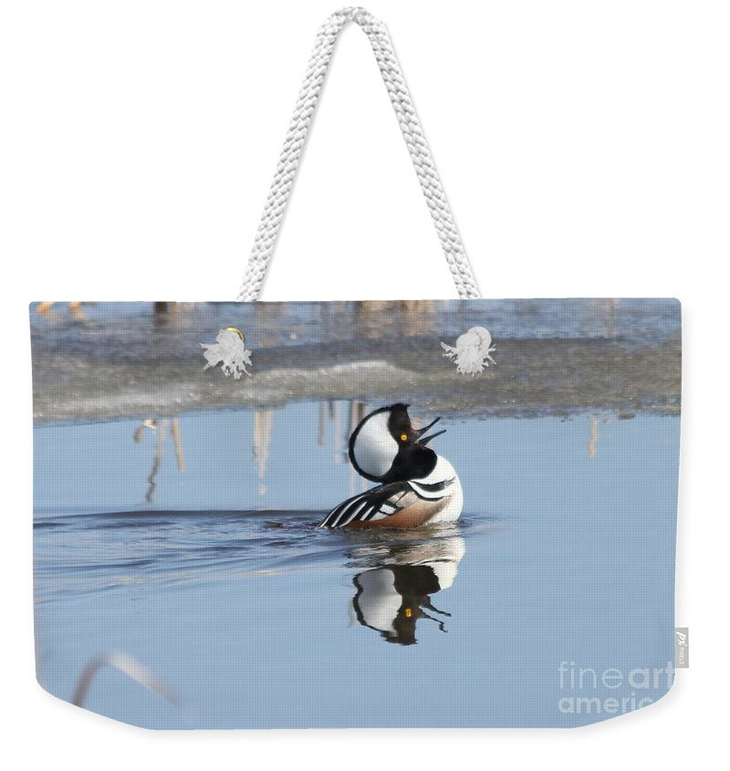 Duck Weekender Tote Bag featuring the photograph The Dance by Lori Tordsen