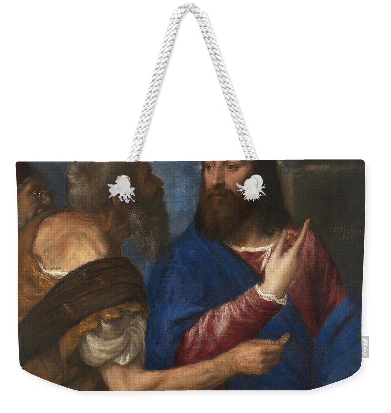Titian Weekender Tote Bag featuring the painting The Tribute Money by Titian