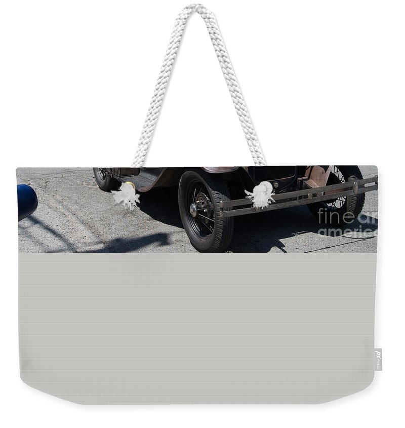 Bowen Island Weekender Tote Bag featuring the digital art Vintage Cars by Carol Ailles