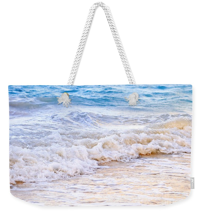 Caribbean Weekender Tote Bag featuring the photograph Waves Breaking On Tropical Shore by Elena Elisseeva