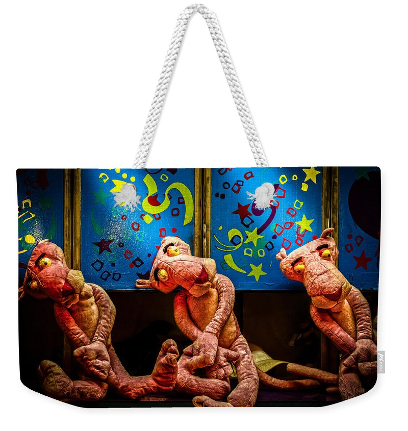 Toy Weekender Tote Bag featuring the photograph 3 Wet Pink Panthers by Bob Orsillo