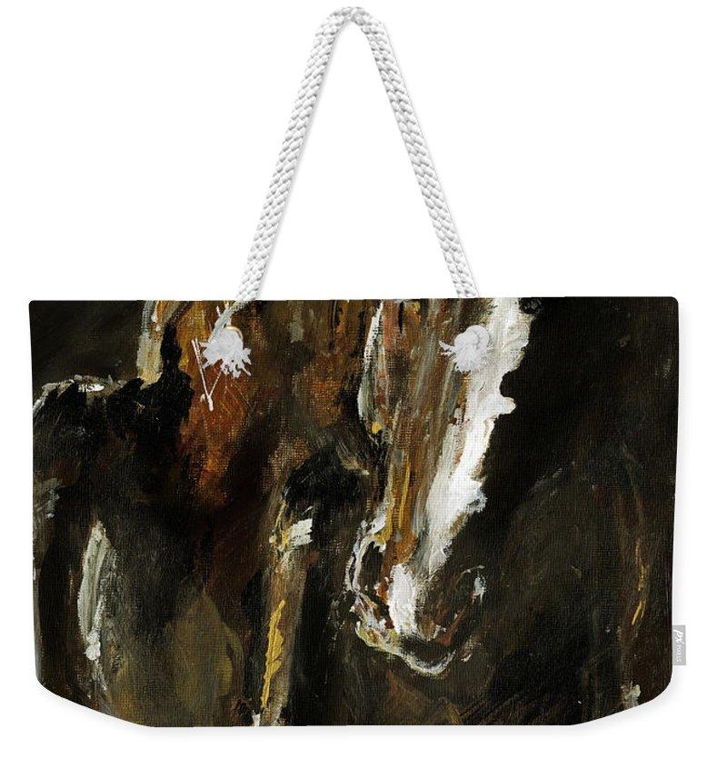 Horse Weekender Tote Bag featuring the painting Wild Heart by Angel Ciesniarska