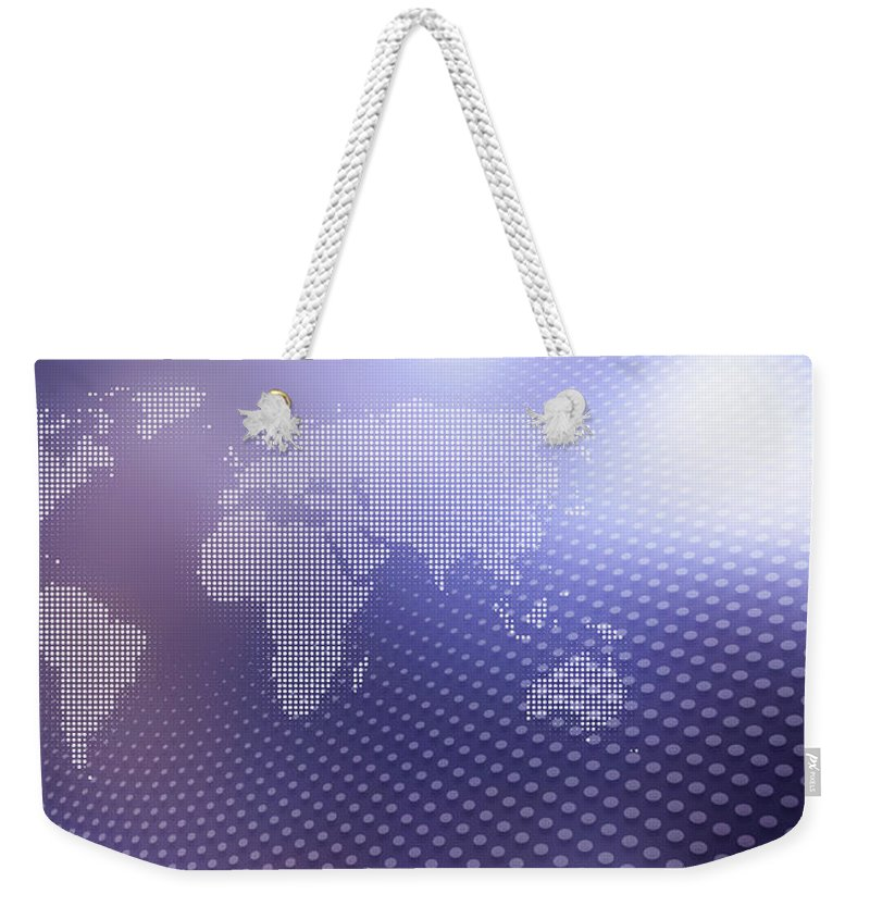Shadow Weekender Tote Bag featuring the digital art World Map In Dots Against An Abstract by Ralf Hiemisch