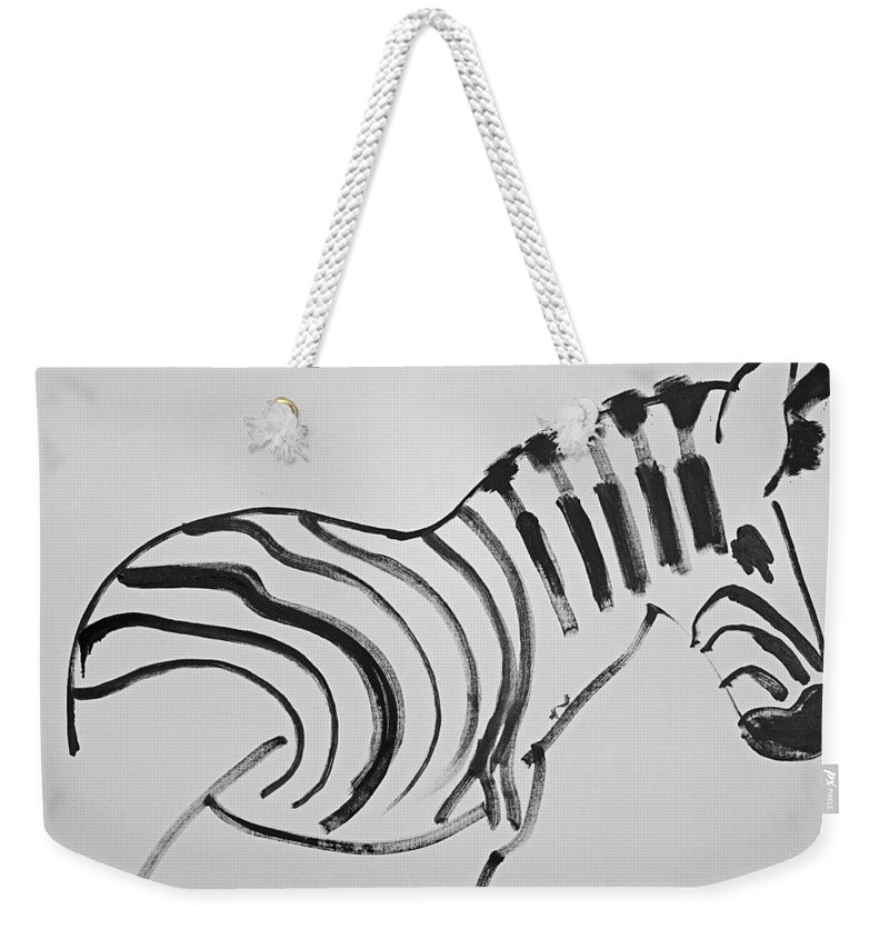 Zebra Weekender Tote Bag featuring the painting Zebra by Charles Stuart