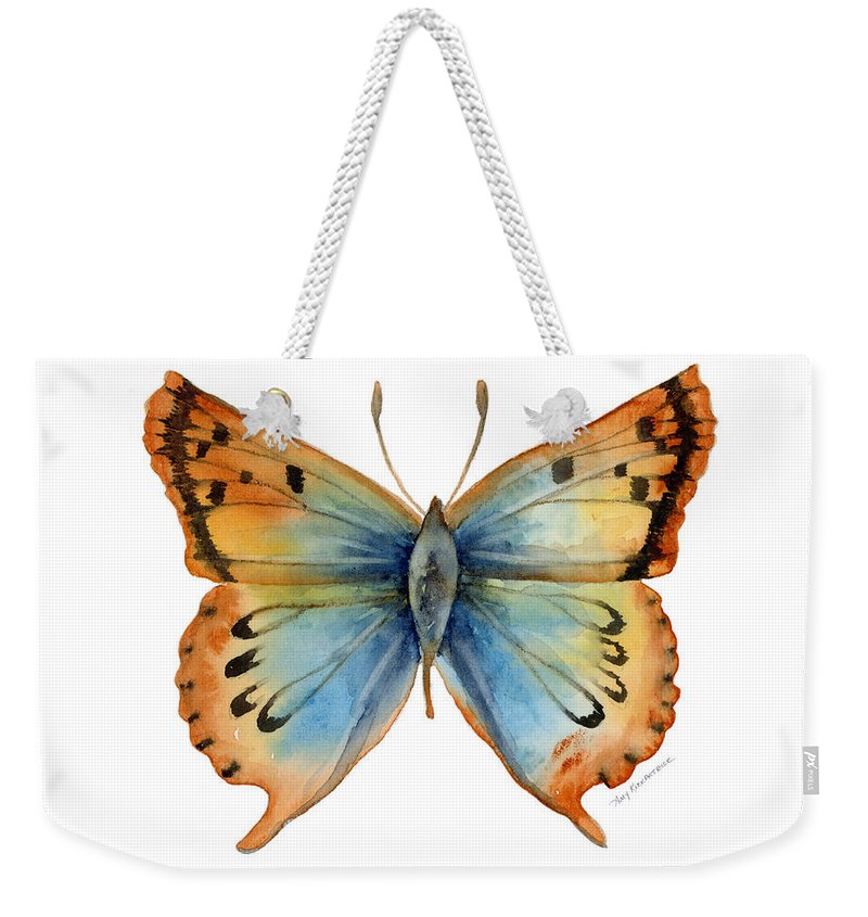 Opal Weekender Tote Bag featuring the painting 33 Opal Copper Butterfly by Amy Kirkpatrick