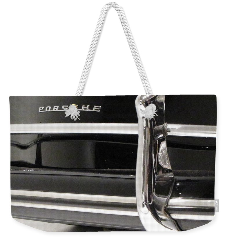 Porsche Weekender Tote Bag featuring the photograph 356 Chrome Reflections by Kelly Mezzapelle