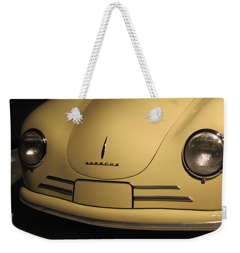 Porsche Weekender Tote Bag featuring the photograph 356 Gmund Coupe by Kelly Mezzapelle