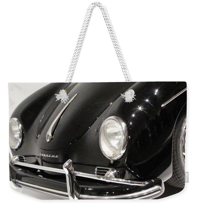 Porsche Weekender Tote Bag featuring the photograph 356 Grin by Kelly Mezzapelle