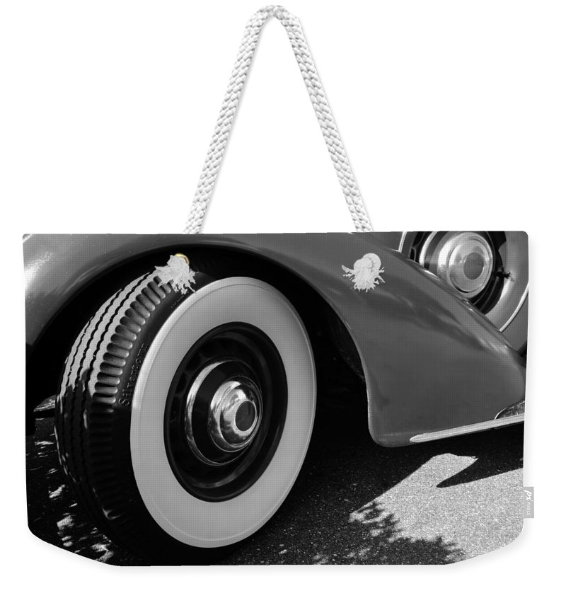 1939 Lincoln Zepher Weekender Tote Bag featuring the photograph 39 Lincoln Zephyr Fender by David Lee Thompson