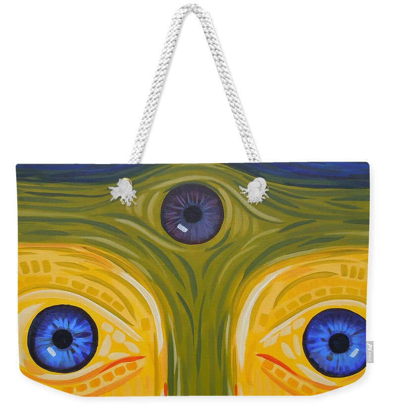 Face Weekender Tote Bag featuring the painting 3eyes2c by Tonya Henderson