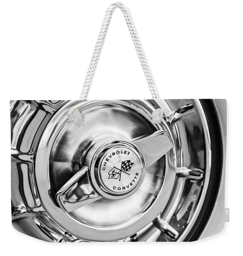 1957 Chevrolet Corvette Wheel Weekender Tote Bag featuring the photograph 1957 Chevrolet Corvette Wheel by Jill Reger