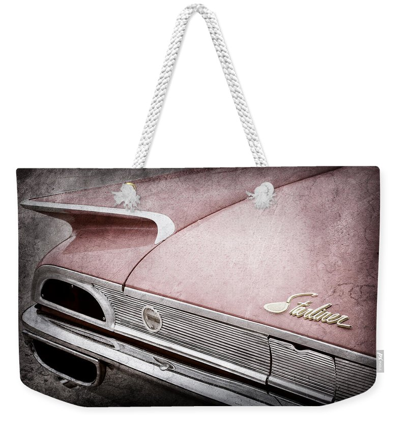 1960 Ford Galaxie Starliner Taillight Emblem Weekender Tote Bag featuring the photograph 1960 Ford Galaxie Starliner Taillight Emblem by Jill Reger