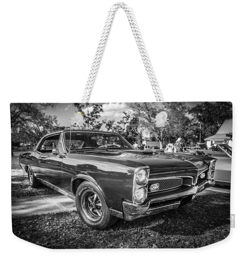 1967 Pontiac Gto Weekender Tote Bag featuring the photograph 1967 Pontiac Gto Bw by Rich Franco