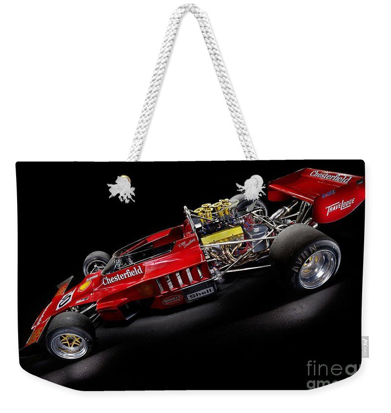 1974 Weekender Tote Bag featuring the photograph 1974 Lola T332 F5000 Race Car V8 5 Litre by Frank Kletschkus
