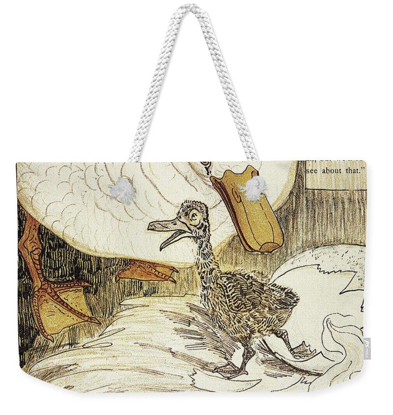 1894 Weekender Tote Bag featuring the drawing Andersen Ugly Duckling by Granger