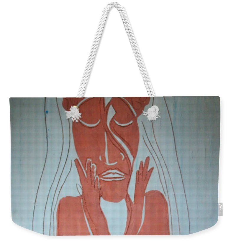 Jesus Weekender Tote Bag featuring the painting Baptism Of The Lord Jesus by Gloria Ssali