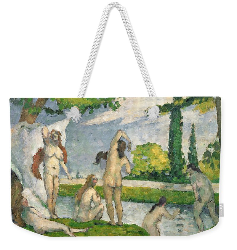 Baigneuses; Bather; Bathing; Nude; Post-impressionist; River; Female; Baigneuse Weekender Tote Bag featuring the painting Bathers by Paul Cezanne