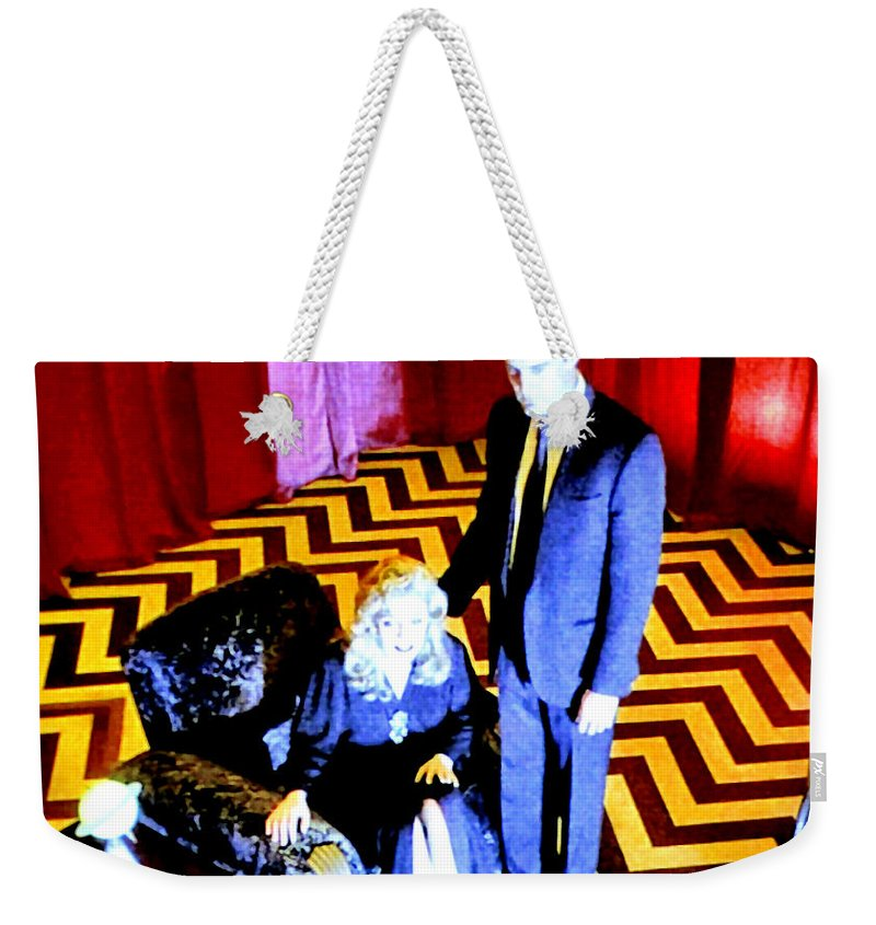 Laura Palmer Weekender Tote Bag featuring the painting Black Lodge by Luis Ludzska
