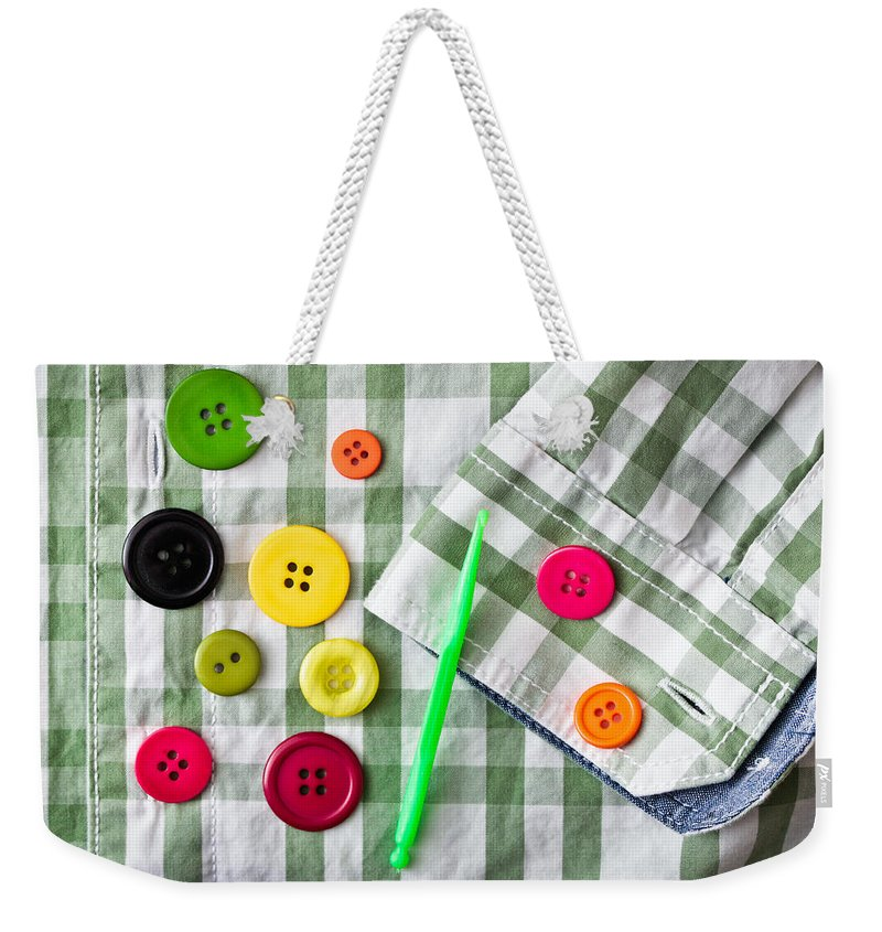 Abstract Weekender Tote Bag featuring the photograph Buttons by Tom Gowanlock