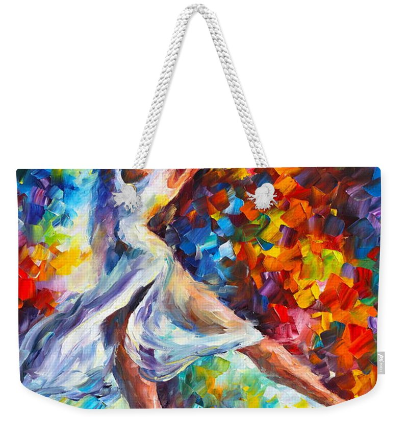 Ballet Weekender Tote Bag featuring the painting Candle Fire by Leonid Afremov