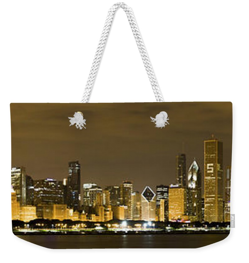Chicago Skyline Weekender Tote Bag featuring the photograph Chicago Skyline At Night by Sebastian Musial