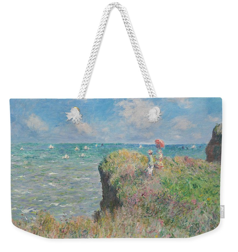 Claude Monet Weekender Tote Bag featuring the painting Cliff Walk At Pourville by Claude Monet