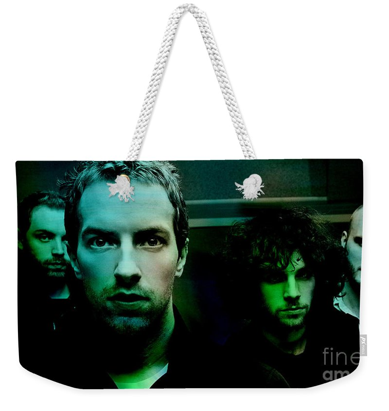 Rock And Roll Photographs Mixed Media Weekender Tote Bag featuring the mixed media Coldplay by Marvin Blaine