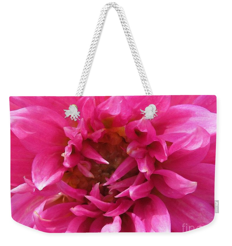 Mccombie Weekender Tote Bag featuring the painting Dahlia Named Pretty In Pink by J McCombie