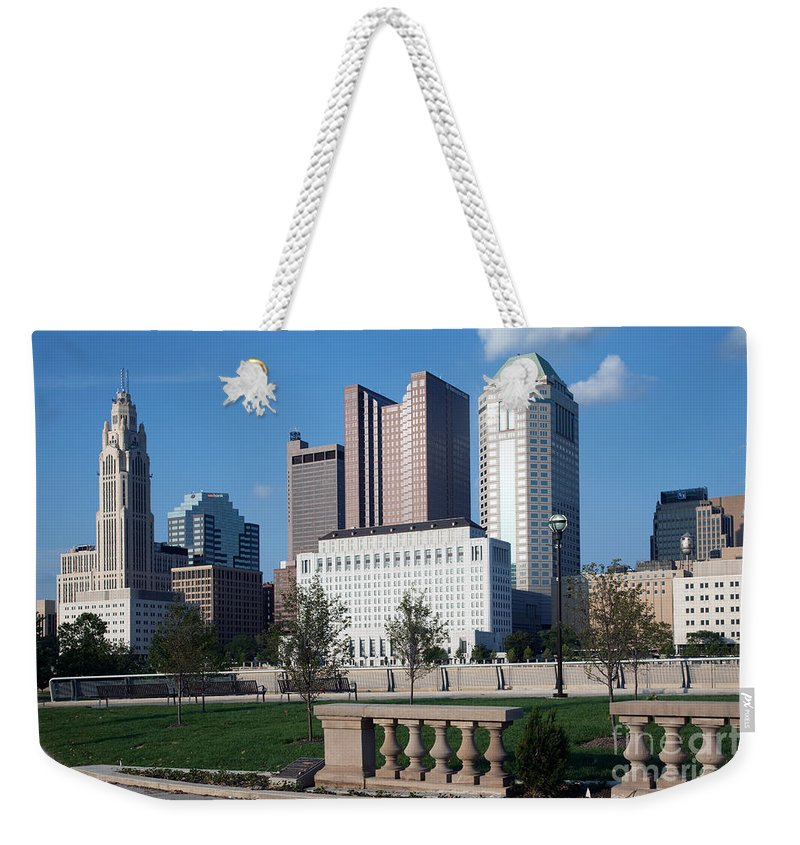 Columbus Weekender Tote Bag featuring the photograph Downtown Skyline Of Columbus by Bill Cobb