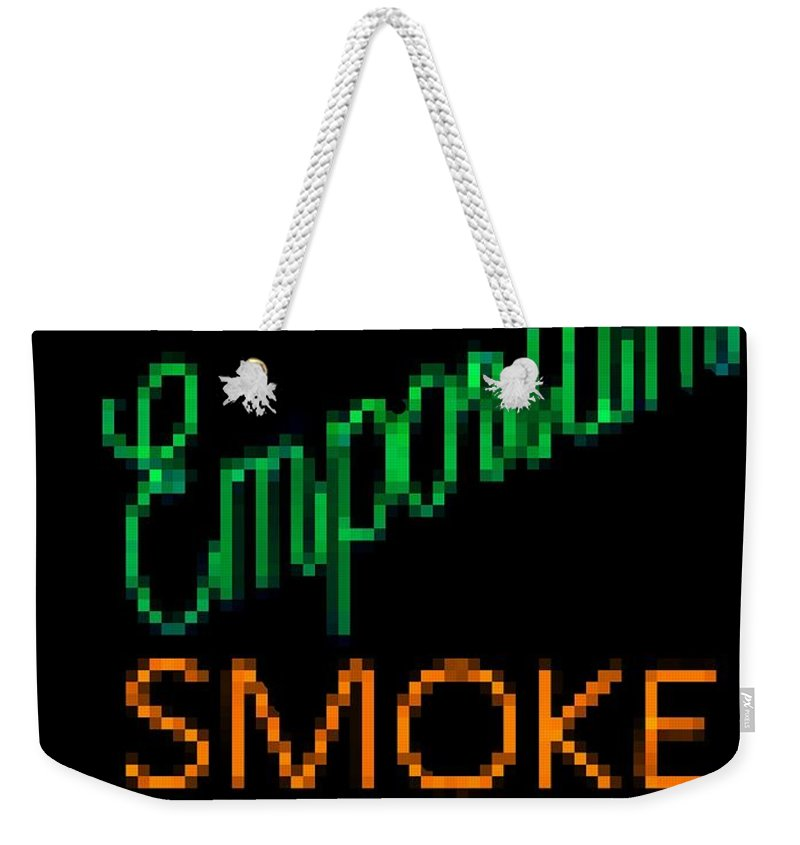 Weekender Tote Bag featuring the photograph Emporium Smoke Shop by Kelly Awad