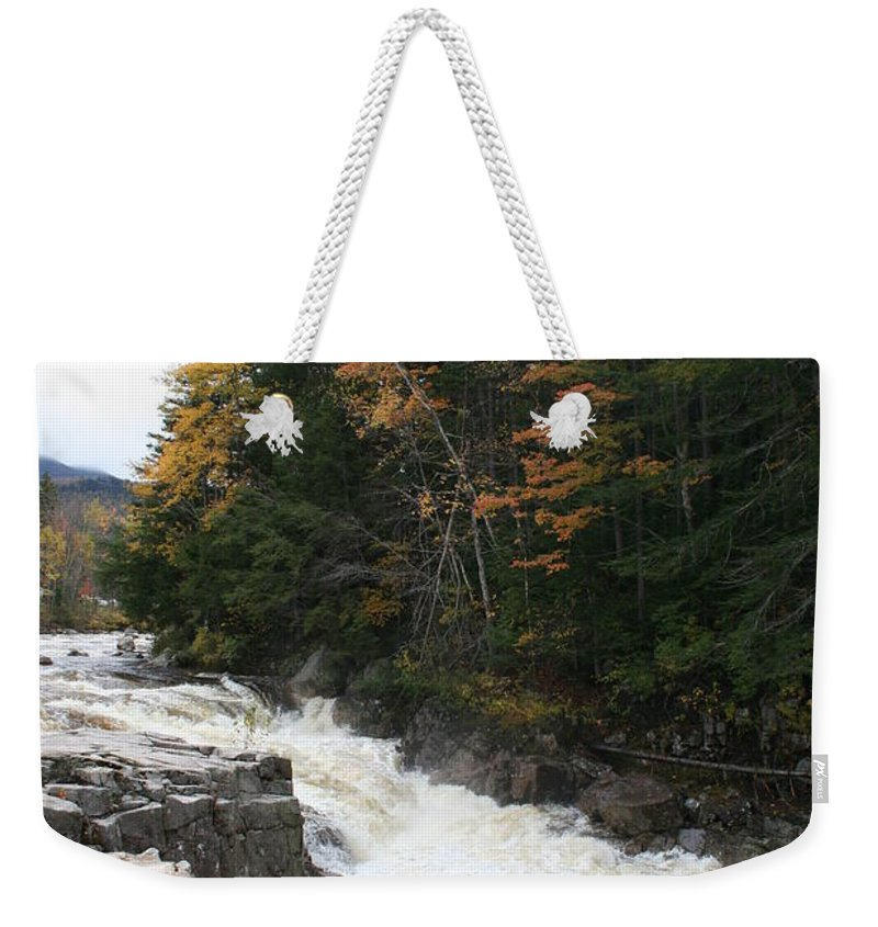 Franconia Notch Weekender Tote Bag featuring the photograph Franconia Notch White Mountians by Christiane Schulze Art And Photography
