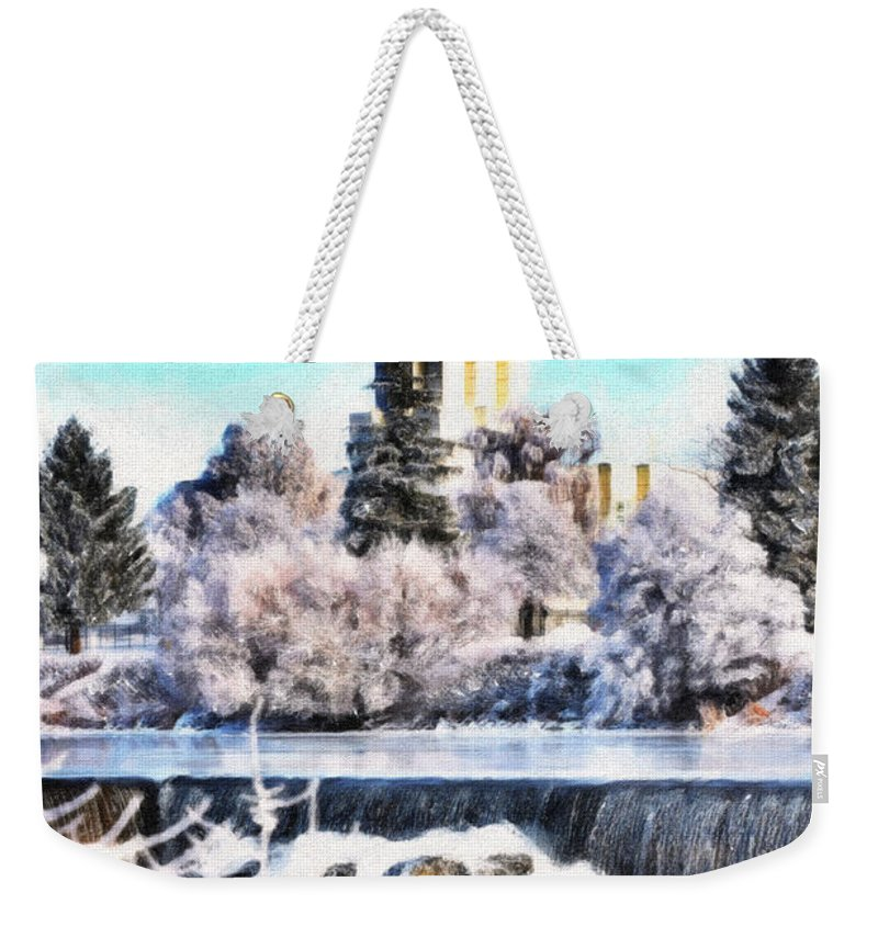 Temple Weekender Tote Bag featuring the photograph Idaho Falls Temple by Image Takers Photography LLC