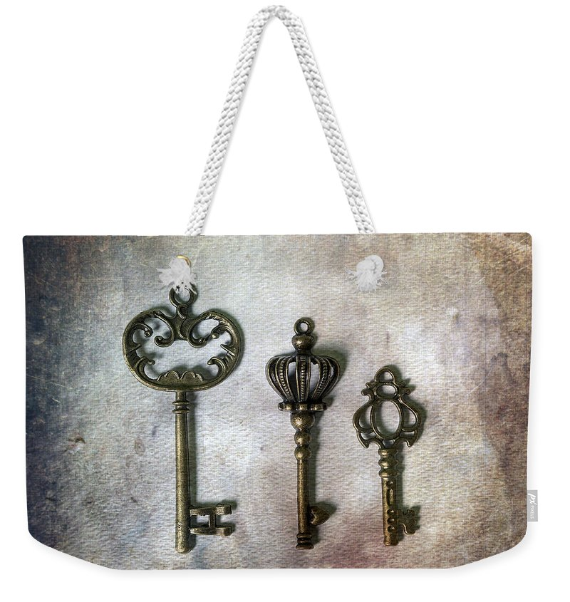 Key Weekender Tote Bag featuring the photograph Keys by Joana Kruse