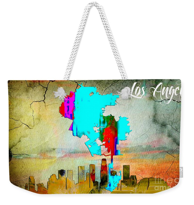 Los Angeles Art Weekender Tote Bag featuring the mixed media Los Angeles Map And Skyline by Marvin Blaine