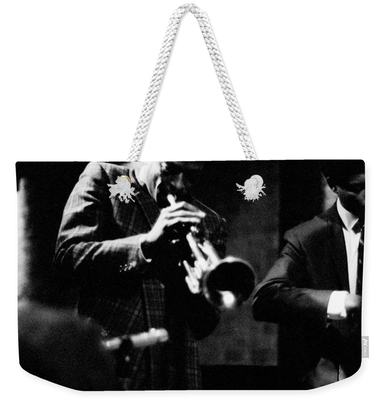 Jazz Weekender Tote Bag featuring the photograph Miles Davis At The Penthouse by Dave Coleman