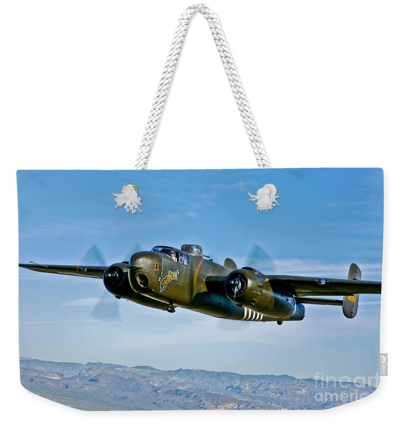 Horizontal Weekender Tote Bag featuring the photograph North American B-25g Mitchell Bomber by Scott Germain