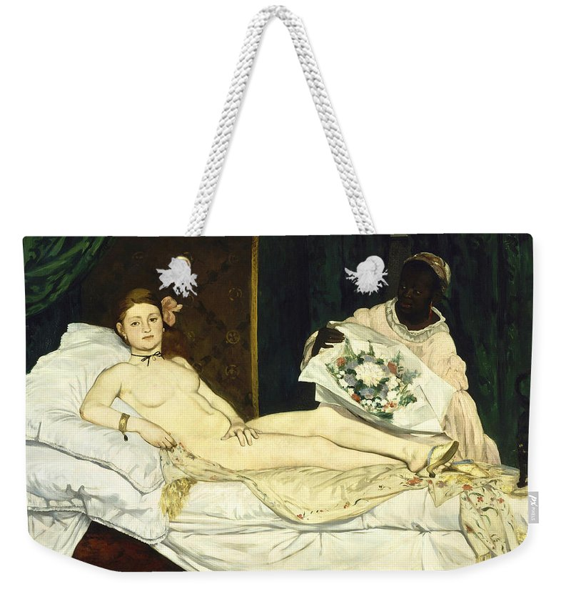 Edouard Manet Weekender Tote Bag featuring the digital art Olympia by Edouard Manet