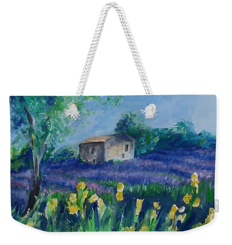 Provence Weekender Tote Bag featuring the painting Provence Lavender Field by Eric Schiabor
