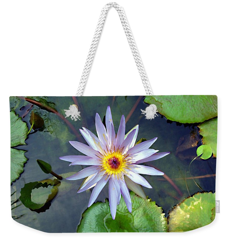 Purple Lotus Weekender Tote Bag featuring the painting Purple Lotus by Ellen Henneke