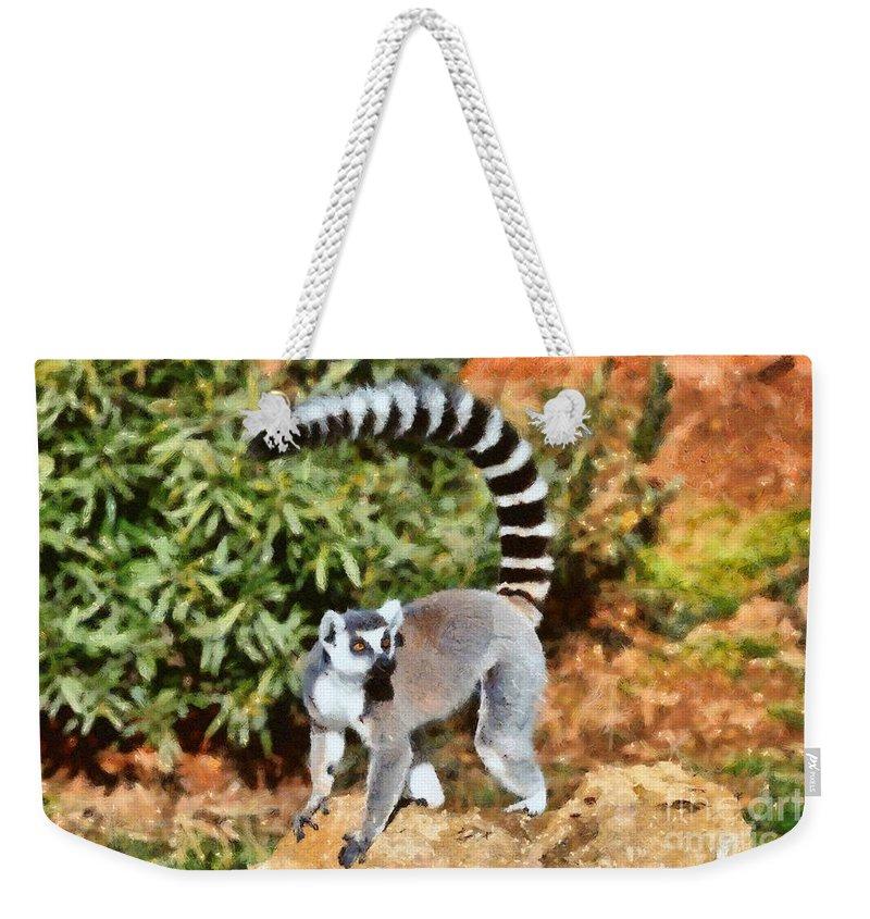 Ring Tailed Lemur Weekender Tote Bag featuring the painting Ring Tailed Lemur by George Atsametakis
