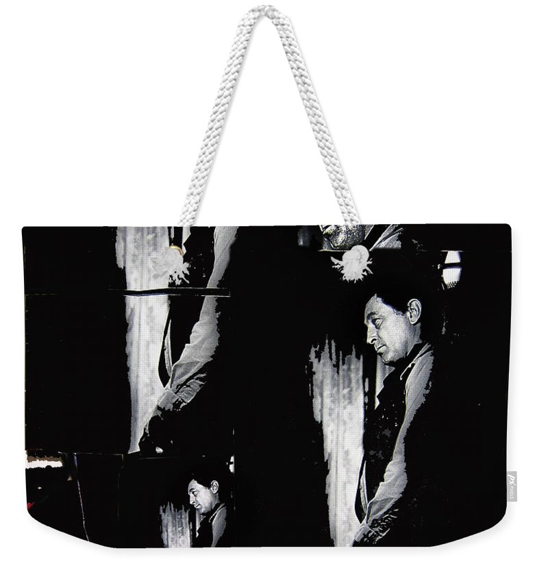 4 Robert Mitchum's Collage Young Billy Young Set Old Tucson Arizona 1968 Color Added Weekender Tote Bag featuring the photograph 4 Robert Mitchum's Collage Young Billy Young Set Old Tucson Arizona 1968-2013 by David Lee Guss