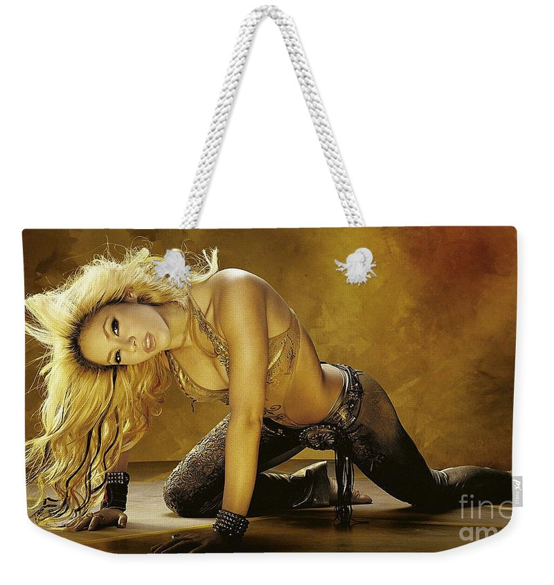 Shakira Weekender Tote Bag featuring the mixed media Shakira by Marvin Blaine