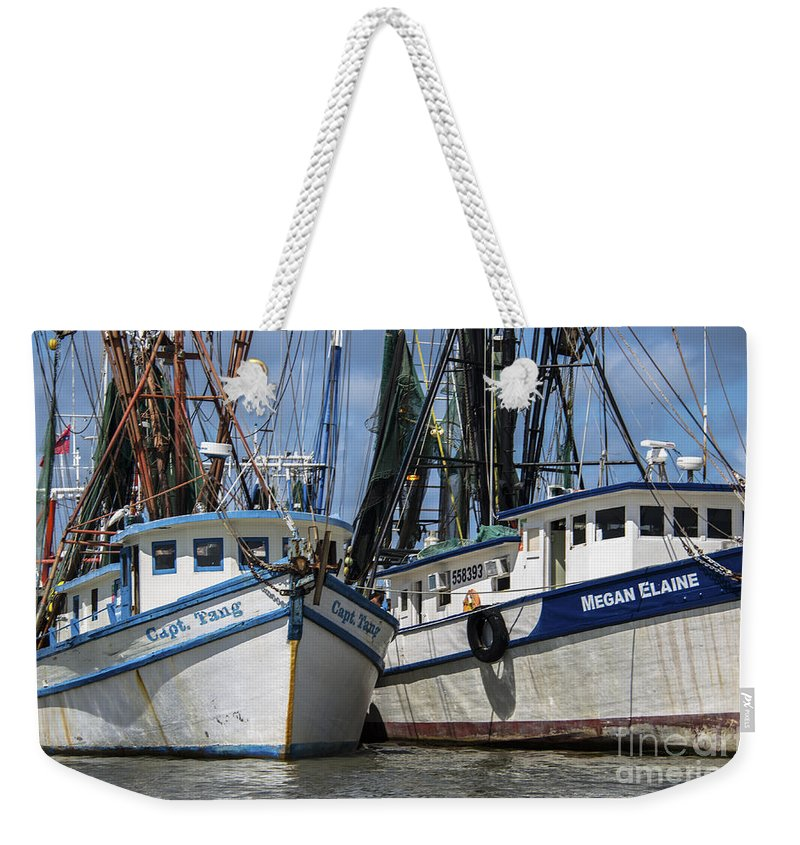 Shrimp Boats Weekender Tote Bag featuring the photograph Capt. Tang And Megan Elaine by Dale Powell