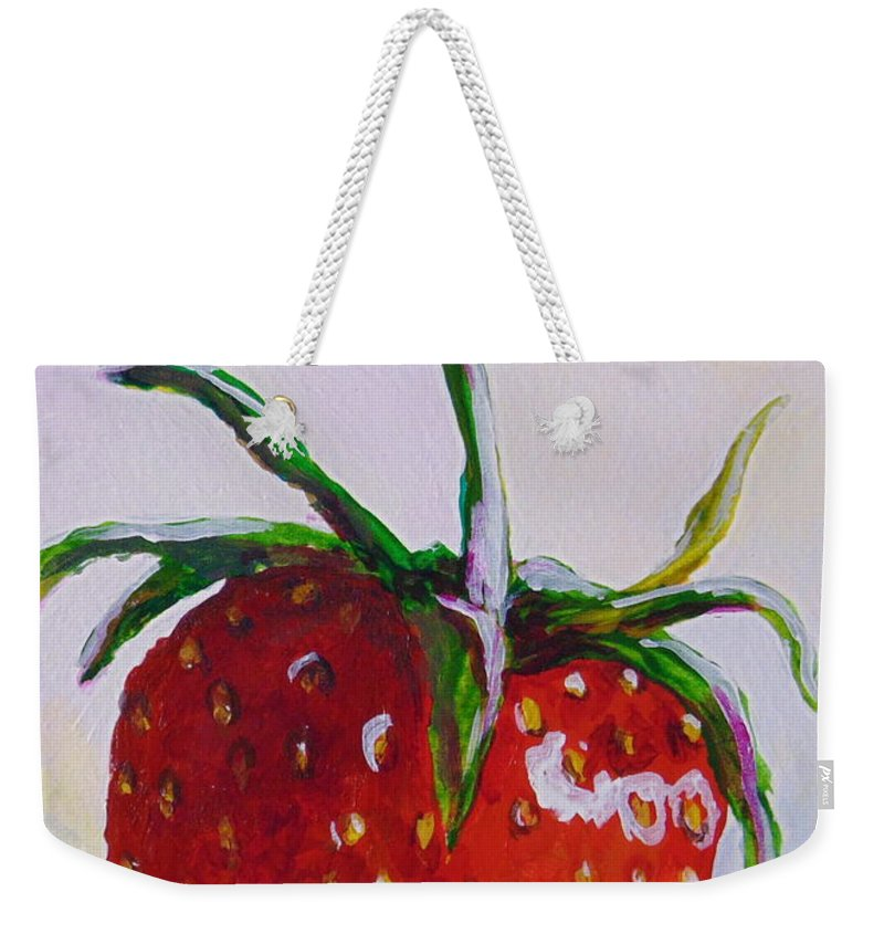 Strawberry Weekender Tote Bag featuring the painting Single Strawberry by Pat Gerace