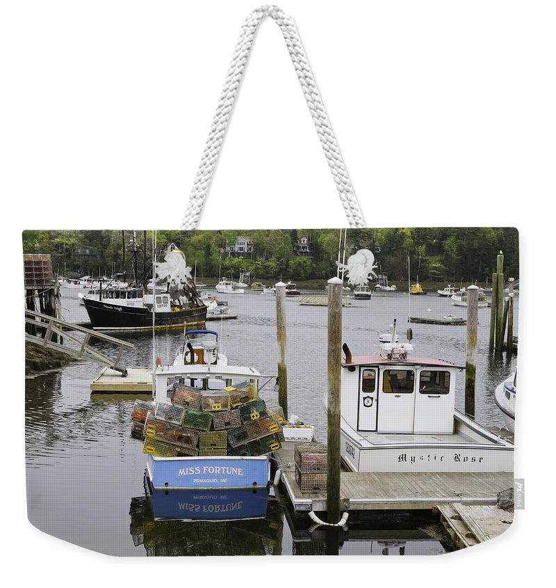 Maine Weekender Tote Bag featuring the photograph South Bristol And Fishing Boats On The Coast Of Maine by Keith Webber Jr