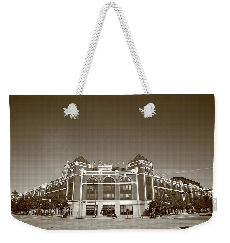 America Weekender Tote Bag featuring the photograph Texas Rangers Ballpark In Arlington by Frank Romeo