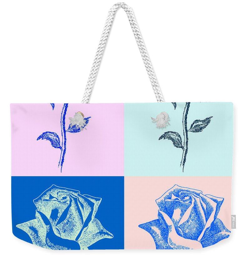 Black Weekender Tote Bag featuring the digital art 4 Warhol Roses By Punt by Gordon Punt