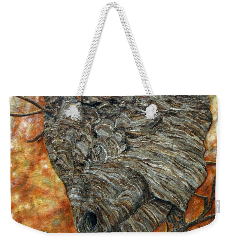 Wasp. Nature Weekender Tote Bag featuring the painting Wasp Nest by Elaine Booth-Kallweit
