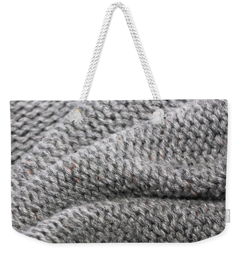 Abstract Weekender Tote Bag featuring the photograph Wool Background by Tom Gowanlock