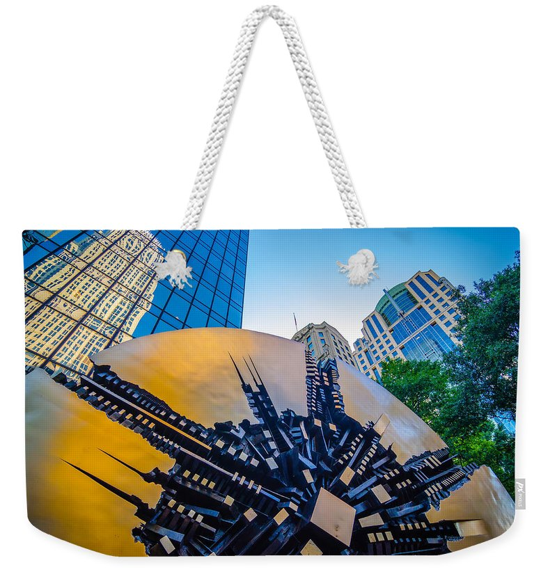 Banking Weekender Tote Bag featuring the photograph Skyline And City Streets Of Charlotte North Carolina Usa by Alex Grichenko